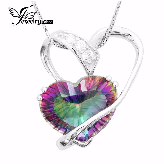 Fashion 6.2ct Genuine Rainbow Fire Mystic Topaz Pendant Charm Romantic Heart Love For Women Gift Pure Solid 925 Sterling Silver