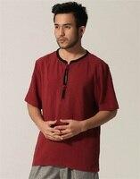 Burgundy Summer Tradition Chinese Men's Cotton Linen Kung Fu short sleeve t shirt M L XL XXL XXXL