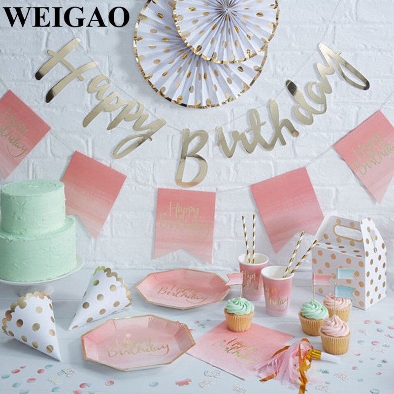 WEIGAO Birthday Party Disposable Tableware Set Happy Birthday Banner Paper Plate Cup Napkins 1st Birthday Party  sc 1 st  Aliexpress & Online Shop WEIGAO 50Pcs Useful Colorful Wooden Ice Cream Sticks ...