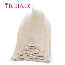 Color 60 # Clip in Human Hair Extensions Blonde Human Hair Clip In Extensions 70g-120g Platinum Blonde Remy Human Hair Clip In