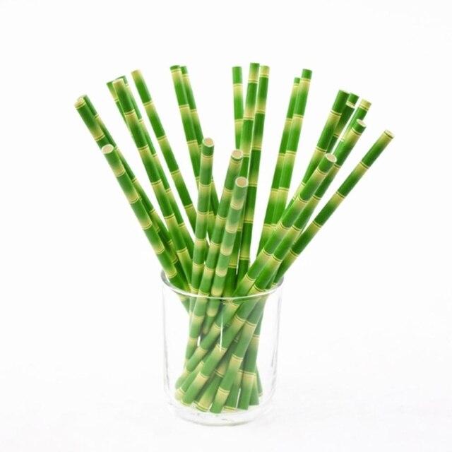 Pailles de papier vert bambou motif de paille pour la f te d 39 anniversaire de mariage - Acheter de la paille pour jardin ...