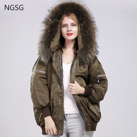 NGSG Winter Down Jacket Women Street Real Fur Raccoon Collar Hooded Bomber Detachable Down Liner Coat Oversize Embroidery