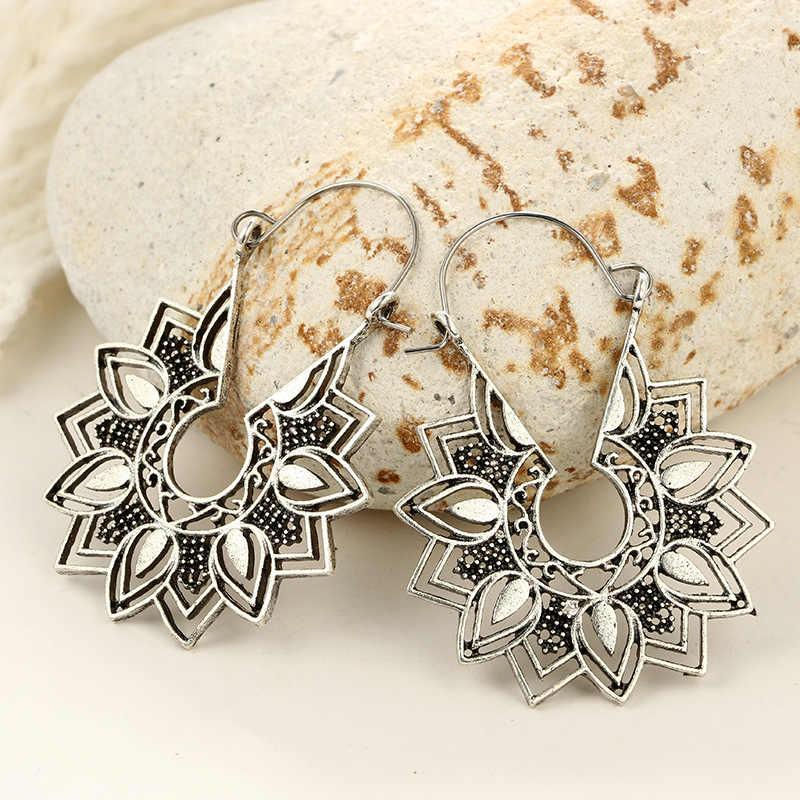 בוהמי גדול מתכת פרח Drop עגילים לנשים גיאומטרי מקסי אתני פרחוני הצהרת עגילי קסם חתונה Jwellery 5E625