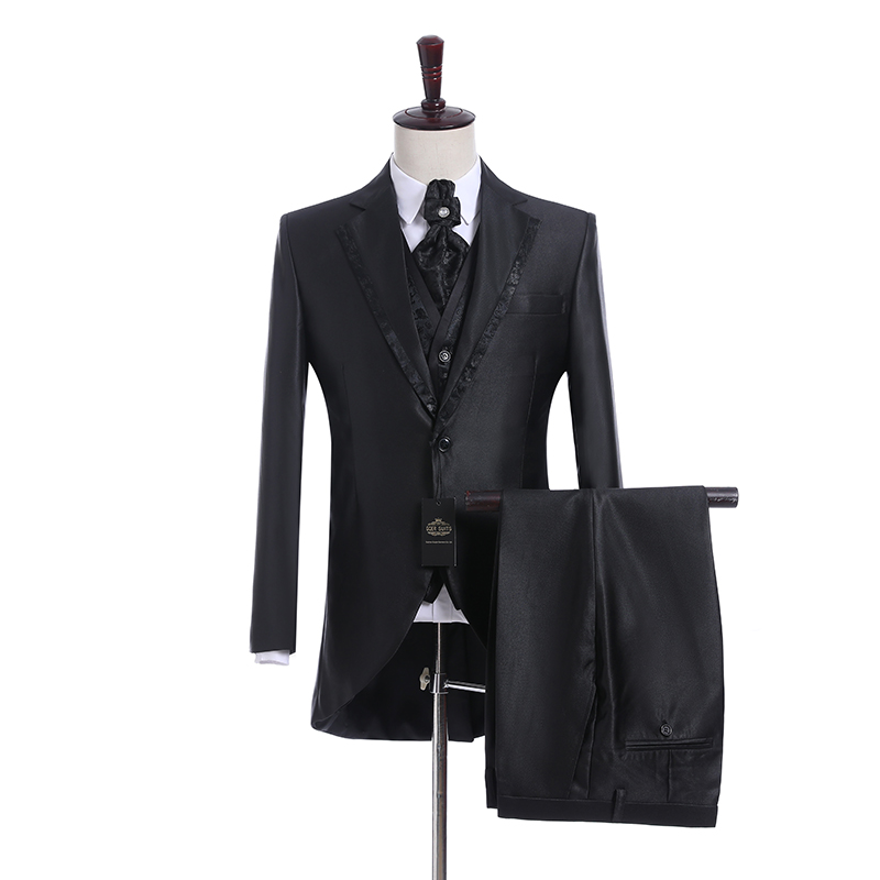 Handsome Groomsmen Wool blend Groom Tuxedos Mens Wedding Dress Man Jacket Blazer Prom Dinner (Jacket+Pants+Tie+Vest) A23
