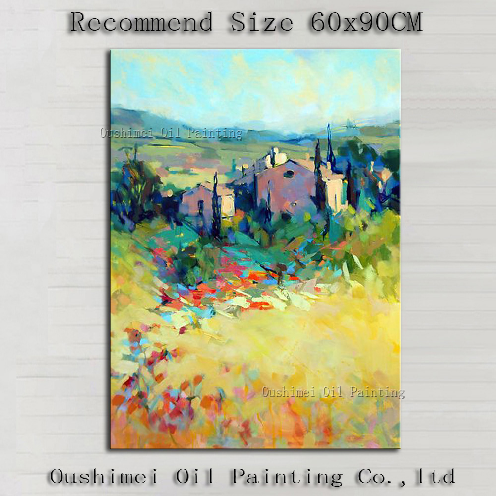 Top Artist Hand-painted High Quality Modern Abstract Country Oil Painting Hand-painted Decorative Country Road Canvas Painting image