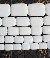 Porcellana bianca agate perline Rettangolo 15 pollici per filo, all'ingrosso Per Monili DIY Trasporto Libero!