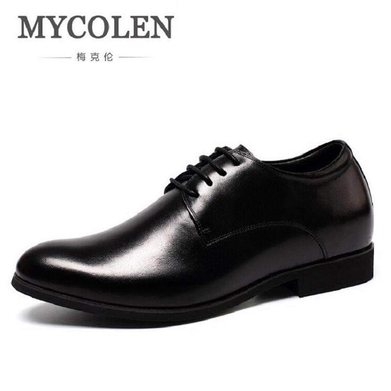 MYCOLEN Genuine Leather Men Dress Formal Shoes Luxury Brand Elevator MenLeather Moccasin Glitter Flats (6cm Height Increasing)