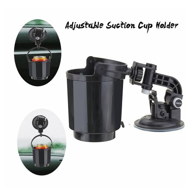 Car Window Adjustable Suction Cup Mount Drink Beverage Holder Vehicle Black