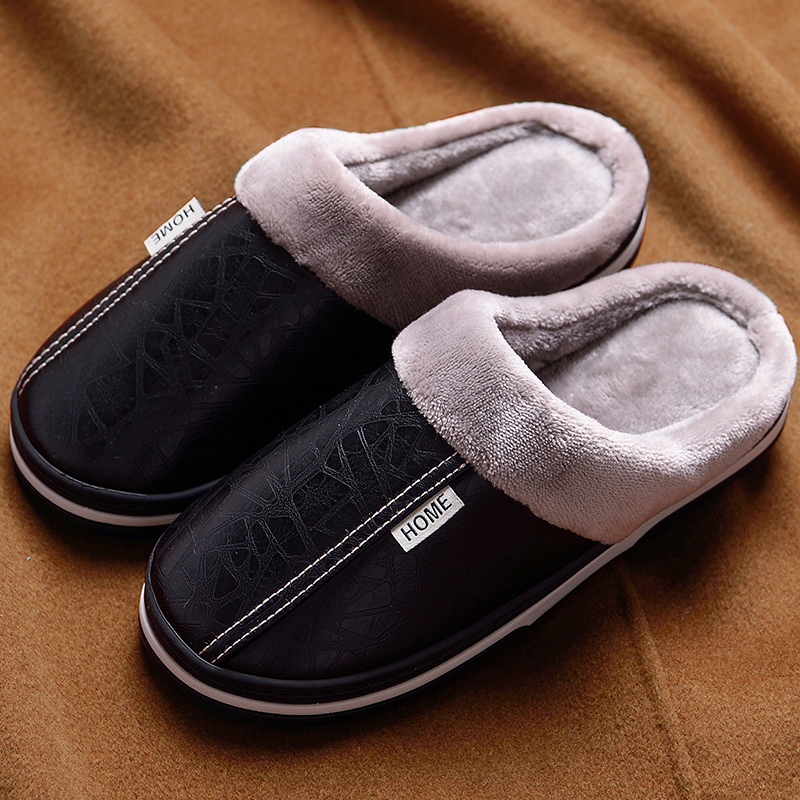 Warme pantoffel männer leder hause hausschuhe winter hausschuhe große größe 45-49 tragen beständig 2019 heißer plüsch mann schuhe