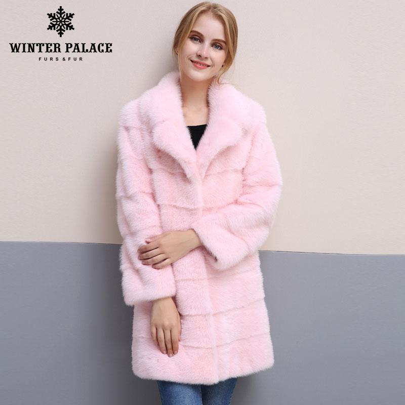 2018 nuevo estilo de invierno abrigo de piel natural mlnk Collar de buena calidad mlnk abrigo de piel 90 cm de largo abrigos de de piel moda piel