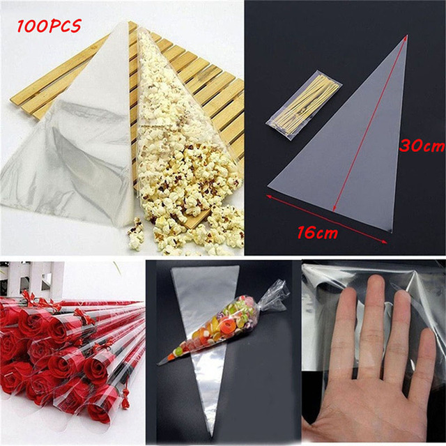 Us 3 65 28 Off 100pcs Bag Clear Cellophane Packing Bag With Twist Ties Party Gift Chocolate Sweet Popcorn Halloween Christmas Candy Transparent In