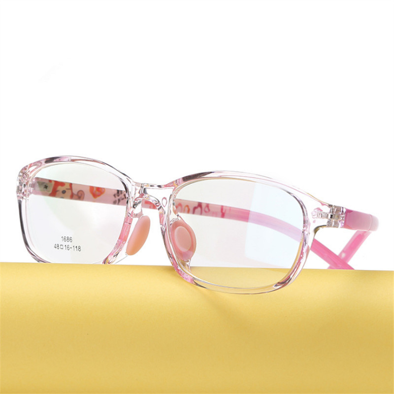 Children's Glasses Boy Girl Eyeglasses Lightweight Eyewear Frame Children Prescription Glasses Frame Silicone Nose Care 686