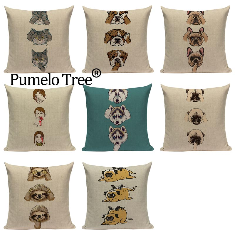 Pug Dog Hot Selling Cat Sloth People Starling Dog Fashion Pillow Cover Lovely Cushion Cover Sofa Decoratove Pillow Case Custom