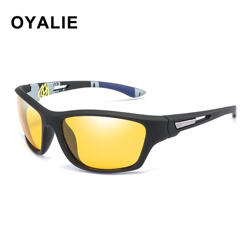 OYALIE jaune Vision nocturne lunettes De soleil polarisées Sport yeux protéger lunettes De soleil conduite pêche lunettes De Sol Masculino UV400