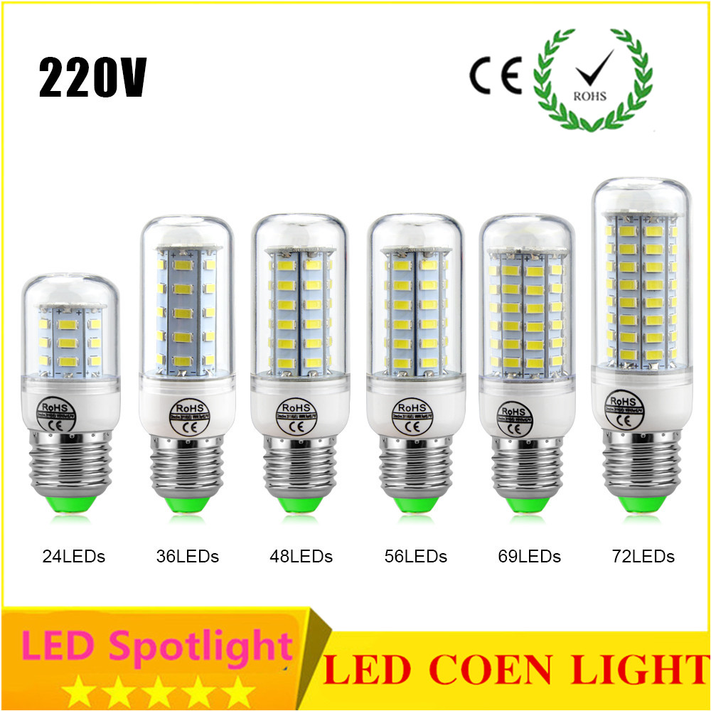 Lights & Lighting Provided 2835 Smd Led Bulb Lamp E27 E14 5w 7w 9w 10w 12w 15w Corn Lamp 220v Lampada Hotel Lighting Longer Service Life Than Smd5730 4014 Soft And Antislippery