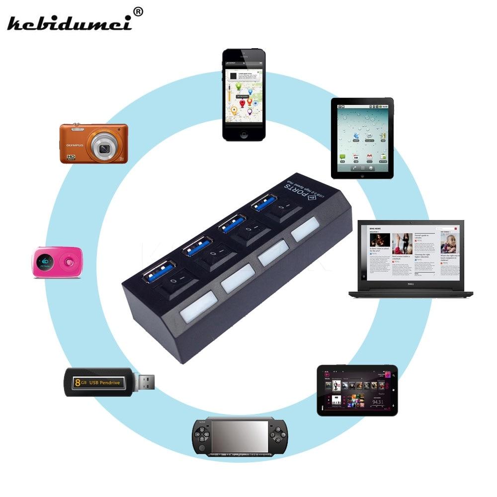 kebidumei 4 Ports USB 3.0 Hub Super Speed 5Gbps 4-port USB 3.0 Hub With onoff Switch  For Windows Mac OS Linux Laptop PC