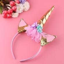 1PC Handmade Kids Gold Unicorn Headband Horn Glittery Beautiful Christ