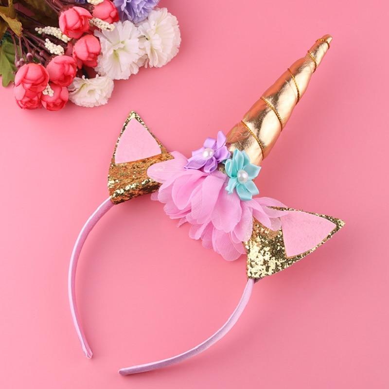1PC Handmade Kids Gold Unicorn Headband Horn Glittery Beautiful Christmas Party   Headwear   Hairband Hair Accessories Gold/Silver
