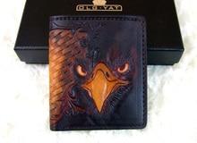 Hong Kong OLG. YAT Handmade carving wallet eagle mat  Men's brief paragraph (vertical)purse  Italian pure leather short  wallets