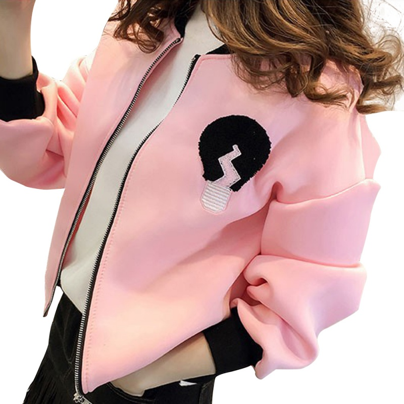 Women Splicing Sportwear   Jacket   Coat 2018 Autumn Chic Embroidery   Basic     Jacket   Slim Student Zipper   Jackets   Korean