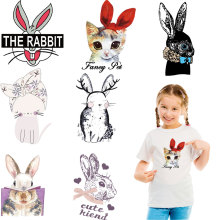cat rabbit iron on heat transfer for girls clothing patches diy transfert thermocollants t-shirt applique ironing stickers ropa