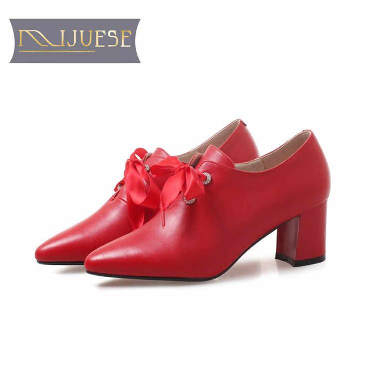 MLJUESE 2018 kadın yarım çizmeler kırmızı renk sonbahar bahar ayak bileği bağcığı botları bayan botları Binicilik botları parti düğün