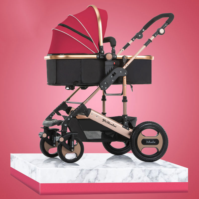 brand 2 in 1 baby stroller High Landscape Baby Stroller Can Sit Lying Folding Two-way Four Wheel Shock Proof Baby Cart belecoo belecoo bei li ke high landscape baby cart trolley can sit and fold the double direction shock 3 in 1 baby stroller