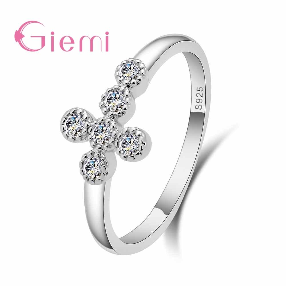 Giemi Top New Antique Mosaic AAA Zircon Crystal Vintage 925 Sterling Silver Cross Ring Women Wedding Finger Luxury Bijoux