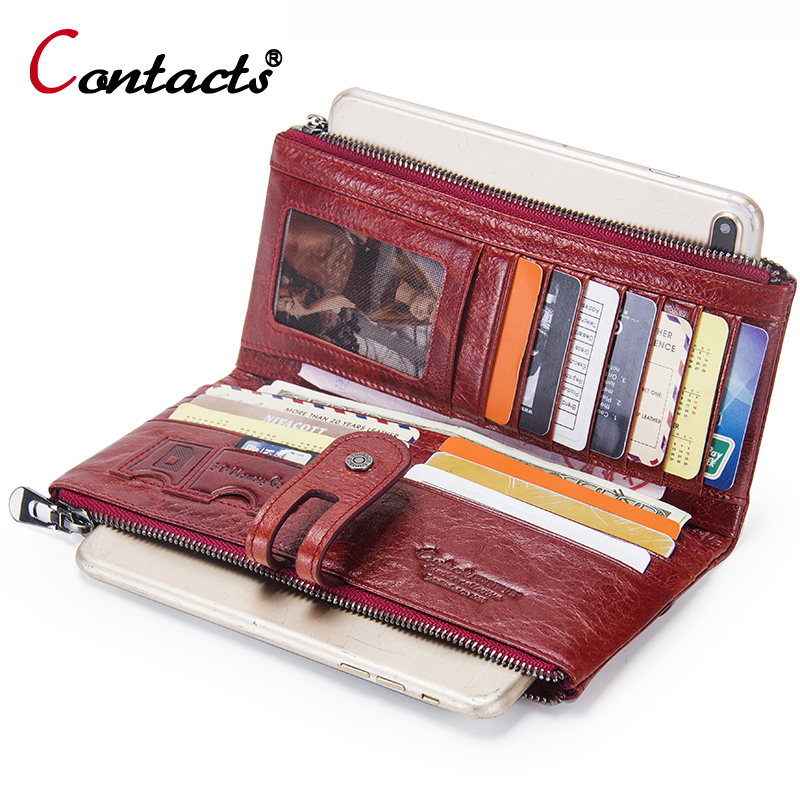 CONTACT'S Women Wallet Genuine Leather Wallet Female Clutch wallet Coin Purse Ladies Credit Card Holder Wallet Long Phone Money 15119627