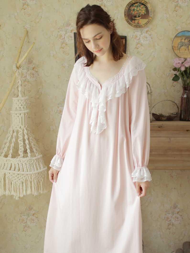 295f4d1273 ... Nightgown Women Cotton Vintage Night Dress Pink Sleepwear Long Long  Sleeve Dress Homewear Goddess Nightdress V ...