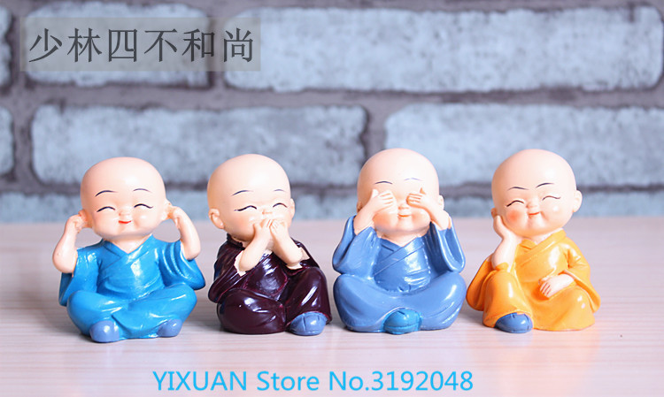 4, four is not a small lovely kung fu monk car decoration  living room desk.4, four is not a small lovely kung fu monk car decoration  living room desk.