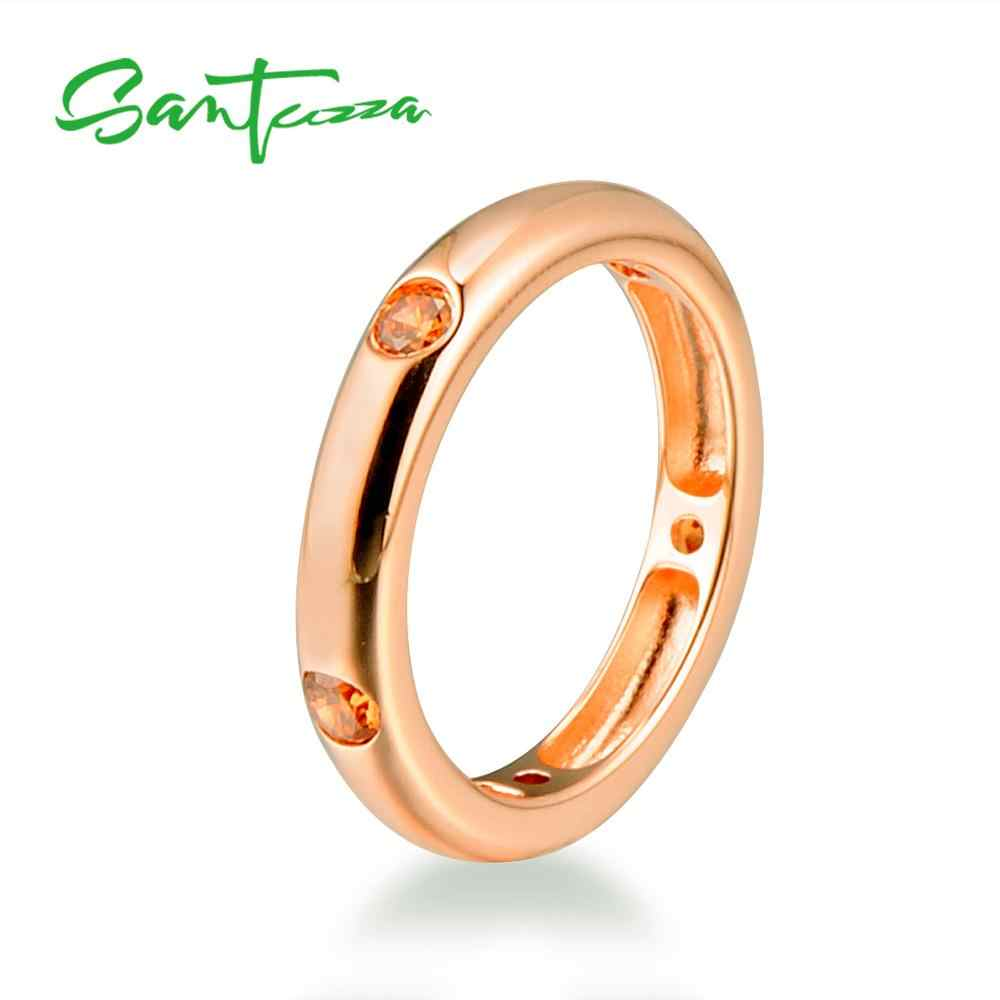 Santuzza แหวนเงิน Rose Gold Cubic Zirconia Eternity แหวนเงินแท้ 925 แหวนแฟชั่นเครื่องประดับ