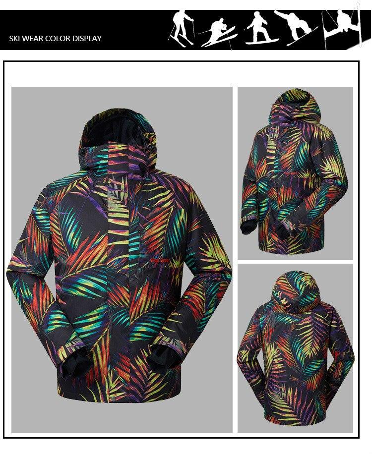 Gsou Snow nouveau costume de Ski pour hommes résistant à l'usure coupe-vent veste de Ski Snowboard combinaison de Ski en plein air chaud vêtements en coton respirant - 6