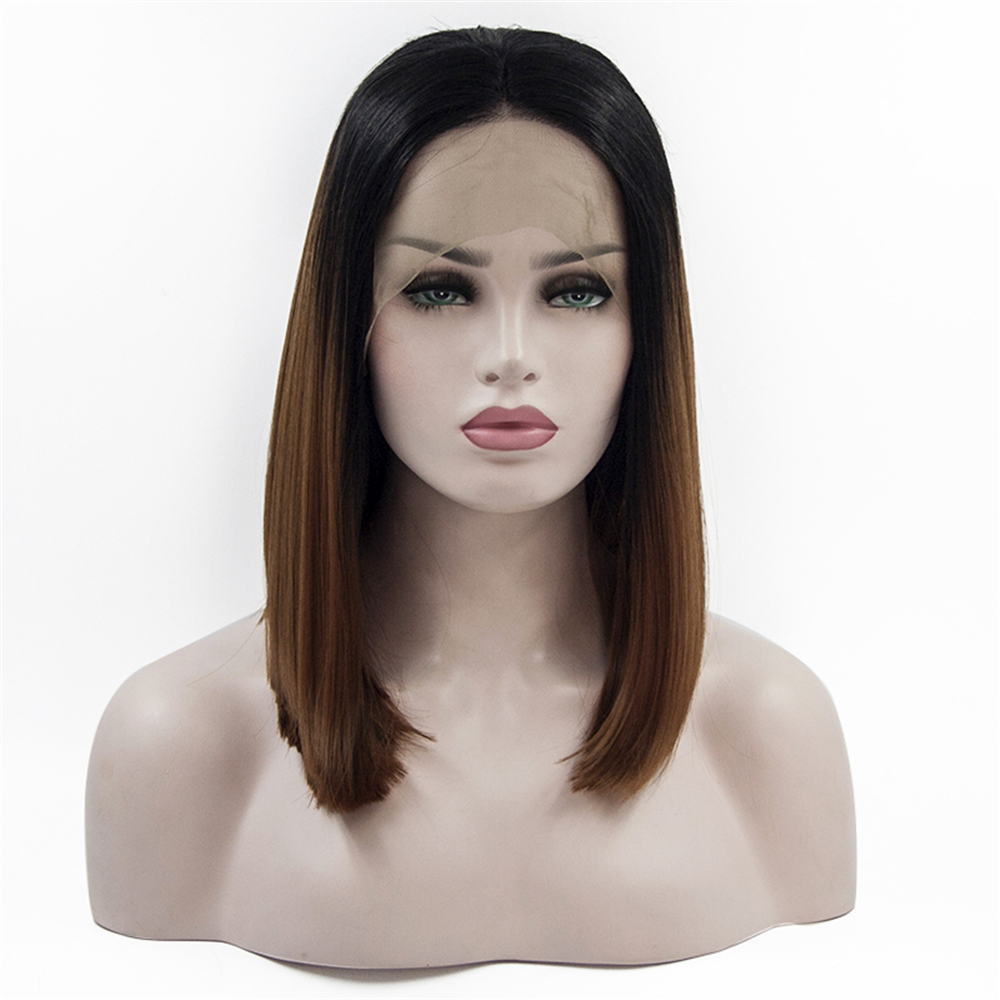 14inch Bob Cut Wig Short Synthetic Lace Front Wigs for Women Heat Resistant Hair ombre brown YXCHERISHAIR