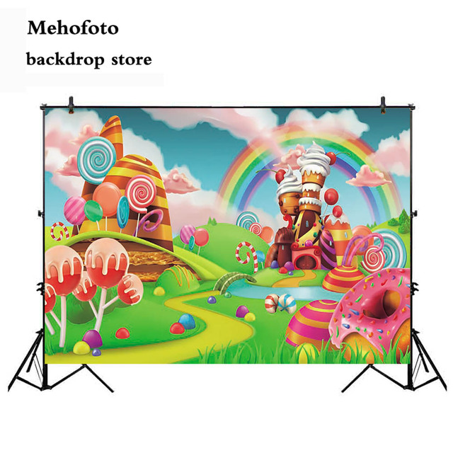 Mehofoto Candy Bar Photography Backdrops Theme Party Decorations Photo Background Cartoon Props for Children Birthday Custom 845