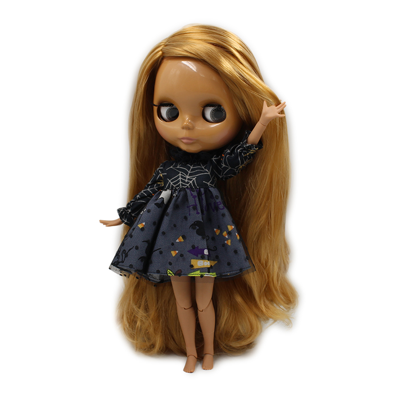 factory blyth doll brown golden hair side parting dark skin joint body BL331 1 6 30cm
