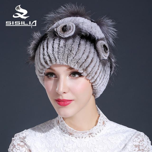 2016 la venta caliente mujeres de invierno real sombrero de piel 100% rex conejo sombrero de piel con piel de zorro rex flor y siliever tamaño libre casual