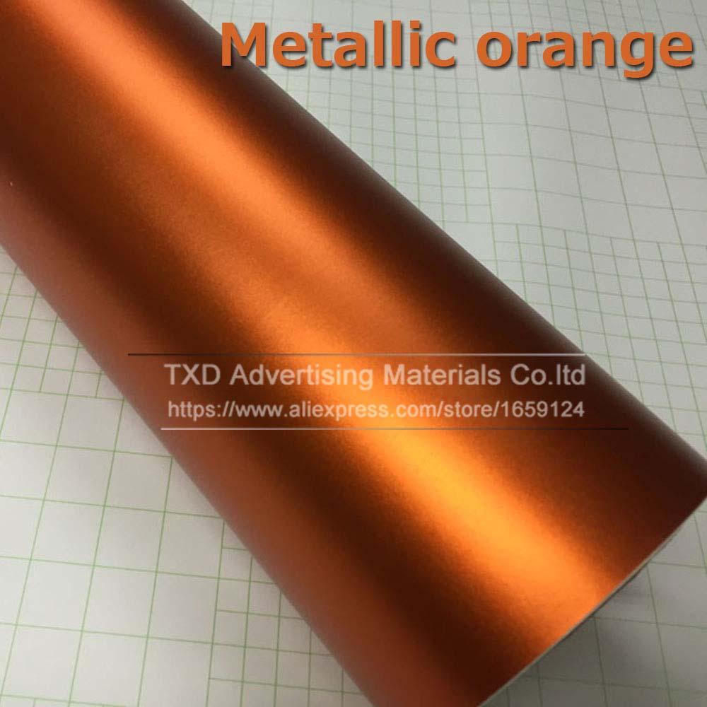 1,52*5 м/10 м/15 м/20 м в рулоне Премиум атласный металлический матовый хром Красный Синий Зеленый Виниловая пленка без пузырей - Название цвета: orange