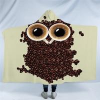 3D Cute Owl Hooded Blanket Coffee Beans Printed Sherpa Fleece Microfiber Throw Blanket Animal manta for Kids Adult