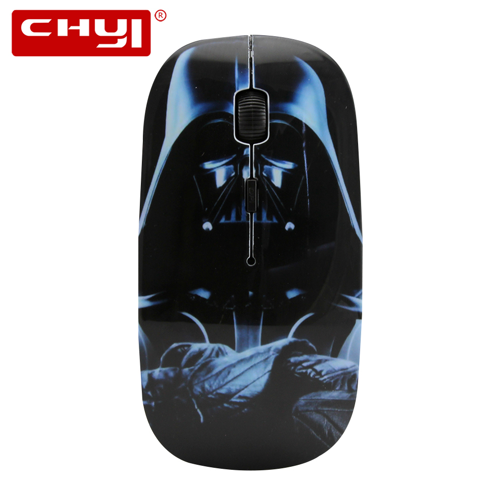 CHYI Wireless Mouse Ultra-thin Darth Vader Anakin Skywalker Jedi Master Star Wars 2.4G 1600DPI Ajustable Game Mice For PC Laptop image