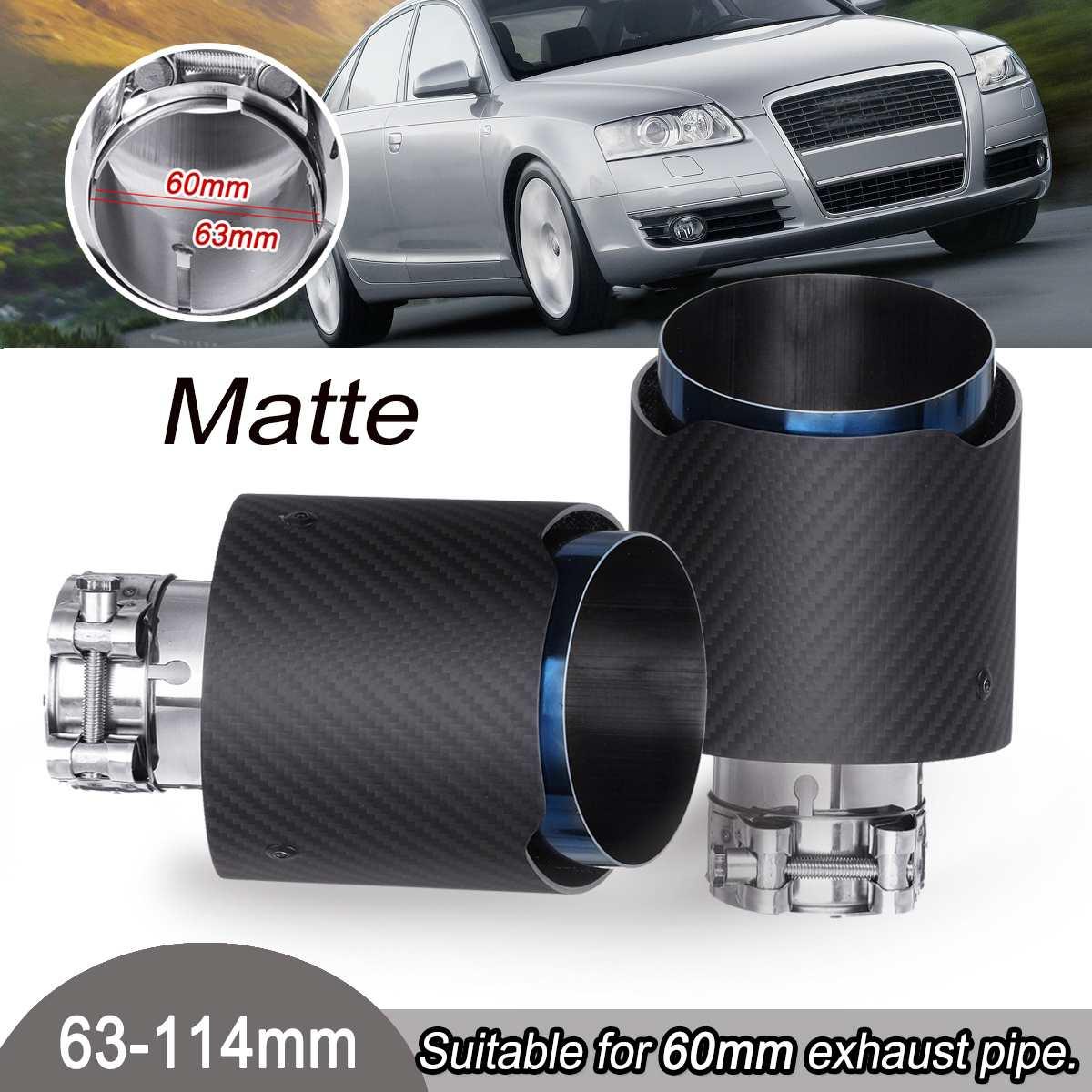 2 pièces 63-114mm universel en acier inoxydable mat en Fiber de carbone arrière embout d'échappement bleu tuyau d'extrémité pour VW/Benz/Ford/Mazda/Toyota/Honda