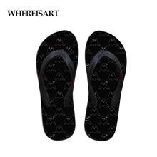 купить WHEREISART Hot Slippers Women Printing Summer Beach Flip Flops Sandals Ladies Slippers Female Sandals Ghost Ghosties Emoji Shoes по цене 778.09 рублей