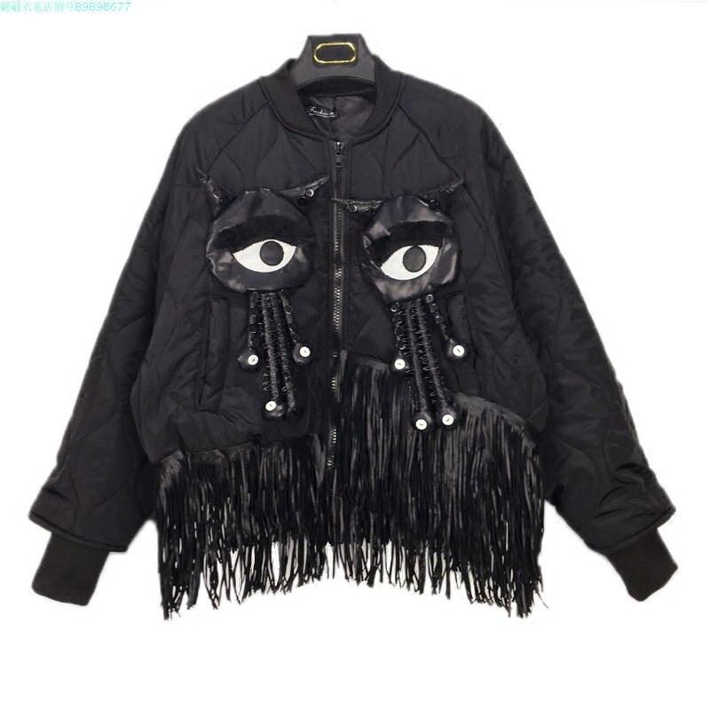 Europe Fashion Cartoon Patchwork Tassel Long Sleeve Jacket Stand Collar Loose Female Cotton padded Coat Winter