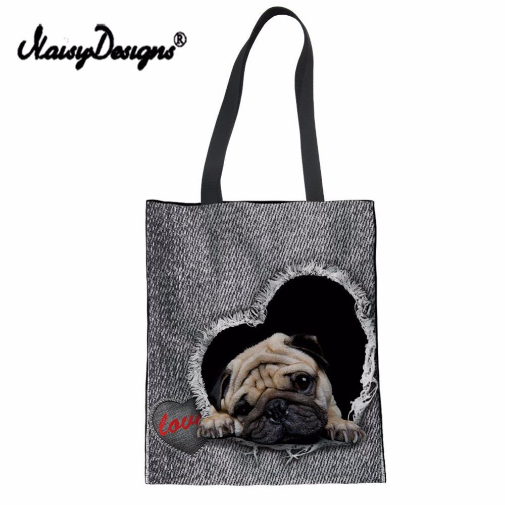 NoisyDesigns Cute Pug Print Women Canvas Shopping Bag Denim Jeans Cotton Draw String Bags Girls Shoulder Bag Daily Use Handbag