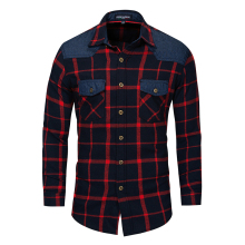 Shirt New Spring and Autumn Mens Large Size Cotton Long Sleeve Denim Plaid Pocket Top