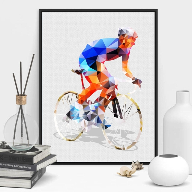 Abstract Geometrical Polygonal Cyclist Canvas Art Print Wall Pictures Cycling Painting Poster