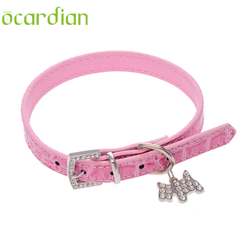 Faux Leather Take Rhinestone Adjustable Leather Dog Puppy Pet Collars Necklace,Collars For Dogs Cat collar perro Size S M L