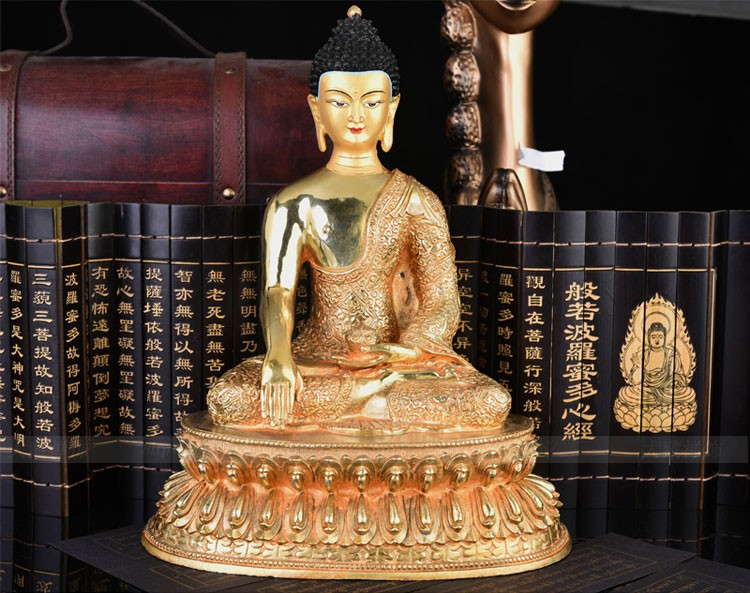 GOOD # 33 CM Large # 2019 HOME OFFICE efficacious House Protection Talisman # Tibetan Buddhism gilding brass Buddha lotus statueGOOD # 33 CM Large # 2019 HOME OFFICE efficacious House Protection Talisman # Tibetan Buddhism gilding brass Buddha lotus statue