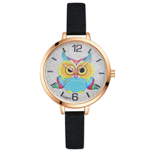 GAIETY Model Ladies Sport Watchs Silicone Strap Cartoon Owl Dial Traditional Colourful Girls Rose Gold Quartz Analog Watch G241