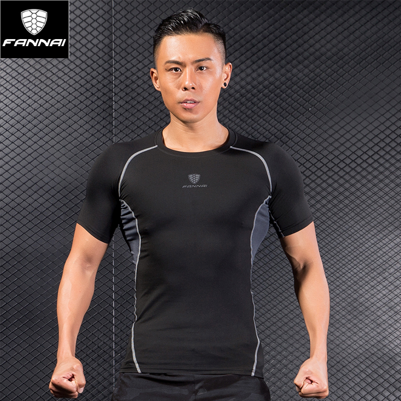 FANNAI Short Sleeve Men Trainning T-shirts Round Neck Breathable Good Elasticity Quick Dry 93% Polyester Fiber Exercise T-shirts